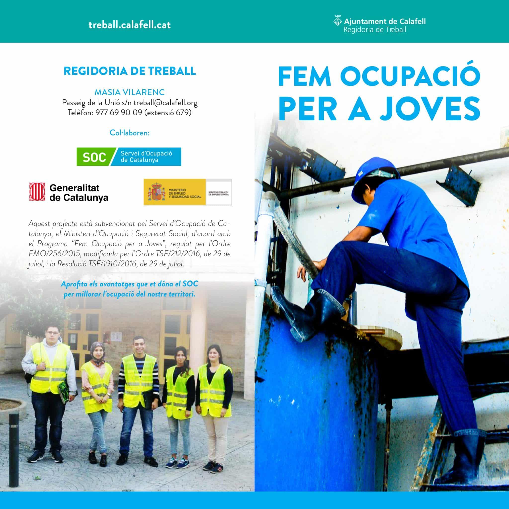 Ofertes del programa FEM OCUPACIÓ PER A JOVES (Calafell)