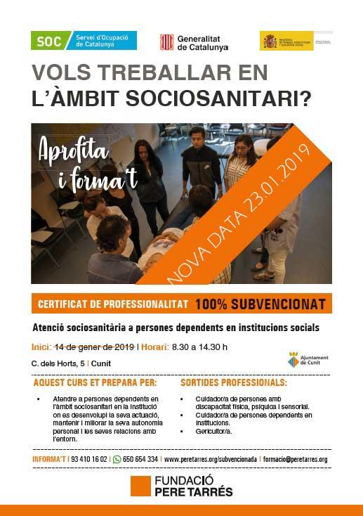 Comença a Cunit la tercera edició del CP d'Atenció sociosanitària a persones dependents en institucions.