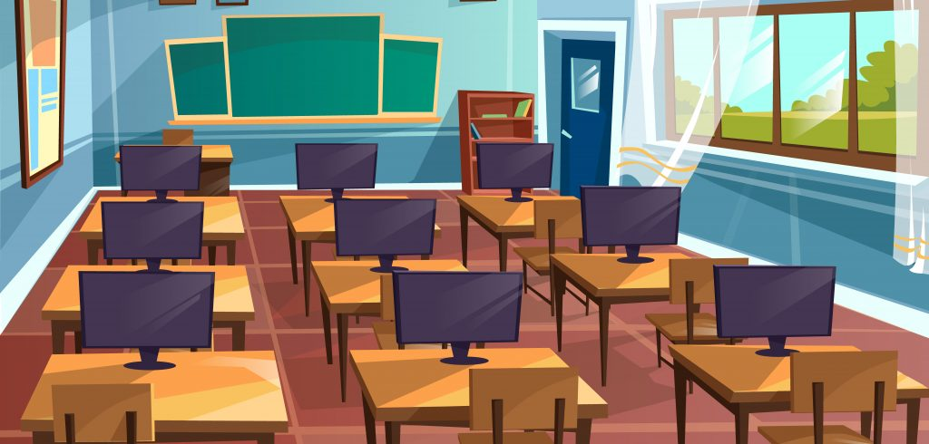 Vector cartoon empty high school college university computer science classroom background. Illustration room interior indoor objects desk table chair desktop monitor board. Learning, education concept
